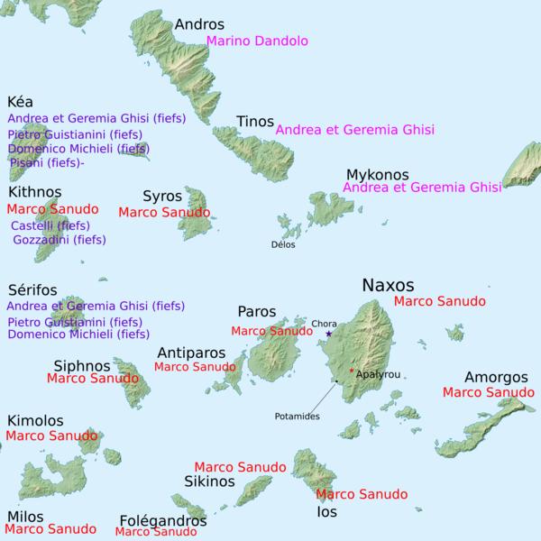 Repartição das ilhas do mar Egeu entre os conquistadores.